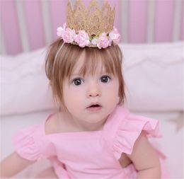 Wholesale Rose Girl New - New Baby girls Lace Tiara headbands Rose Flower Head Bands Kids Elastic Hairbands Children Hair Accessories Crown Headdress KHA81