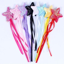 Wholesale Wholesale Fairy Wands - Sweet Girls Princess Ribbon Sequins Star Fairy Magic Wand Sticks Dance Performance Props Birthday Wedding Party Favors