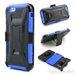 Wholesale Iphone Swivel Cases - iPhone 6 defender case Shockproof Hybrid Rugged Defender Armor Case W Kickstand + Swivel Belt Clip Holster Cover Combo Silicone cases