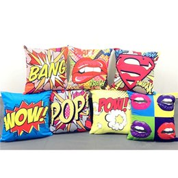 Wholesale Wow Gold Wholesale - 7 Styles American POP Style Cushion Covers Graffiti Rock And Roll Letters WOW POW BANG Red Lips Superman Cushion Cover Soft Pillow Case