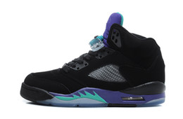 Wholesale High Low Style Sneaker - 2016 Air retro 5 black blue grape men and women basketball shoes mens sports sneakers high quality fashion style free shipping size 36-46