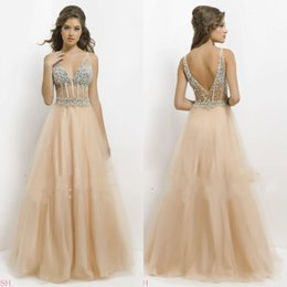 Wholesale Cheap See Through Corset - 2016 Cheap Sexy V Neck A Line Prom Dresses Rhinestones Tulle See Through Corset Summer Beach Graduation Evening Gowns