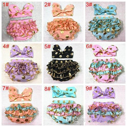 Wholesale Diaper Covers Ruffles - girls gold polka dot shorts baby bloomers + headbands set childrens ruffled shorts kids cotton underwear girl boutique diaper covers