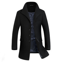 Wholesale Winter Trenchcoat - Fall-British Style Mens High Collar Trench Winter Woolen Mens Trenchcoat Manteau Homme Fashion Long Mens Overcoat