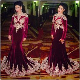 Wholesale Evening Gowns For Muslim Women - Muslim Evening Dresses For Women Wear 2018 Dubai Kaftan Lace Appliqued Velvet Mermaid Moroccan Burgundy Formal Prom Gowns