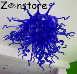 Gafas venecianas online-Atrevido color azul cobalto araña de Murano GLass Art Ceiling Decor Chandelier Lamp Led Venetian Flush Montado luz de techo