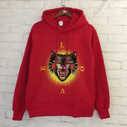 Wholesale Head Sleeves - Tiger Head Hoodies Men Women Embroidery Hip Hop Sweatshirt Cotton Tiger Hoodies 2018