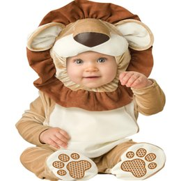Wholesale Kids Lion Costume - Wholesale- Christmas Baby Infant Halloween Lion Romper Kids Onesie Suit Animal Costume Co-splay Triceratops Child autumn winter Clothing