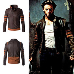 Wholesale Patchwork Pu Leather Jacket - Wolverine Jacket Zip Slim Fit Faux PU Leather Biker Jacket Male Winter Brown Vintage Motorcycle Leather Jackets Men Plus Size 4XL