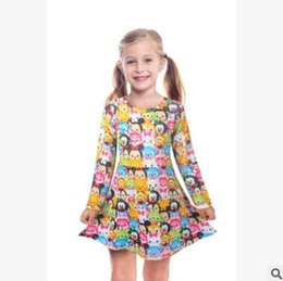 Wholesale Clothes For Children Cartoon - Cartoon Baby Girls TSUM TSUM Dresses Kids Long Sleeve Spring Fall Princess Dress for Girls Children Kids Dress Girls Boutique Clothing