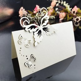 Wholesale Wholesale Butterfly Houses - 200pcs Laser Cut Hollow Butterfly Paper Table Card Number Name Place Card For Party Wedding Decorate Personality Customization