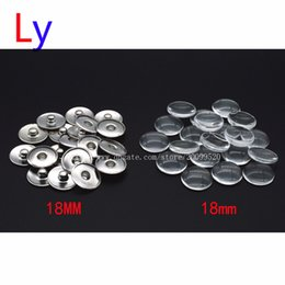 Wholesale Wholesale Photo Rings - Blank Print Snap Button Making Brass Snap Buttons with Clear Glass Cabochons, Platinum, Clear, Button: 18mm(Add freedom print photos)