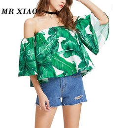 4804a396c0f8e 2017 new summer brand middle sleeve women s off the shoulder printed  beantiful sexy casual blouse t