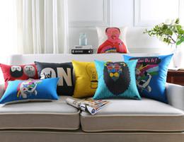 Wholesale People Cartoon Drawings - Creative Cartoon Animals Unicorn Lion Sheep Bird Cushion Covers Cute People Portrait Drawing Pillow Case Decorative Linen Pillow Cover