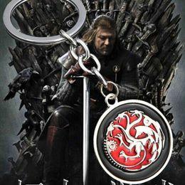 Wholesale Dragon Boys Rings - Game of Thrones House Targaryen badge emblem Insignia Three heads fiery Dragon keychain Flying dragon key chain red round card key ring y006