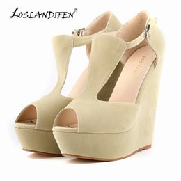Wholesale Nude Open Toe Platform Wedges - LOSLANDIFEN Fashion Summer Women Shoes Open Toe flock Leather Platform High Heel solid Gladiator Sandals Chunky free shipping 391-1VE