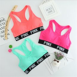 Wholesale Yoga Push Up Bra - Pink Letter Sports Bras Victoria Running Yoga Shirts VS Pink Gym Bras Push Up Fitness Vest Elastic Crop Tops Adjustable Sexy Underwear
