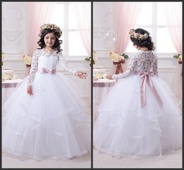 Wholesale holiday bridesmaid dresses - Newest Ball Gown Long Sleeve Birthday Bridesmaid Wedding Party Holiday White Lace Tulle Flower Girl Dresses