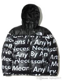 Wholesale Slim Down Jacket - Winter Jackets Men Face Hooded Down Coats Mens Hip Hop Kanye Brand Thick Jacket Men Designer Outwear Men clothes