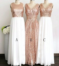 Wholesale Different Style Chiffon Bridesmaid Dresses - Rose Gold Sequined Three Different Style Long Bridesmaid Dresses For Wedding Elegant Maid Of Honor Gowns Women Formal Party Dresses