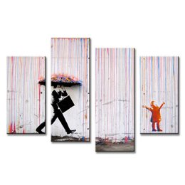 Wholesale Frames For Canvas Prints - Hot Sell 4 Pcs Set Banksy Art Colorful Rain oil painting paintings for living room wall colorful abstract oil paintings w0098