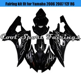 Wholesale Injection Yamaha R6 - Black Fire Pattern Fairings Kit for Yamaha 2006 2007 YZF R6 Black plastic for YZF R6 YZF r6 06 07 2006 2007 bodywork Cool Design fairing