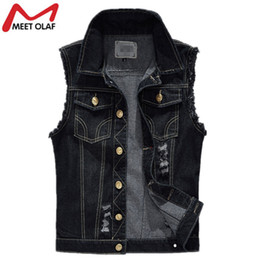 Wholesale Ripped Vest Top - Denim Vest Mens Sleeveless Jackets Fashion Washed Jeans Waistcoat Mens Tank Top Male Ripped Vests Jacket Plus Size 6XL YL309