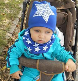 Wholesale Infant Fedora Hats - 10set  lot infant hats cotton unique baby scarf child caps skull cap star baby hat scarf two pcs set