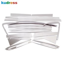 Wholesale Stainless Door Frame - For KIA Carens 2013 Stainless Steel Chrome Door Full Window Frame+Center Pillars Window Sill Molding Trim Car Styling 22pcs set