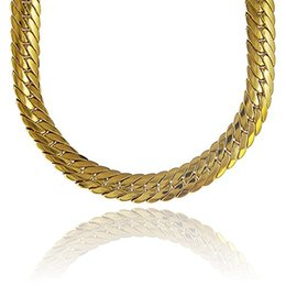 Wholesale Gold Filled Mens Herringbone Chain - Chunky Herringbone Chain 18k Yellow Gold Filled Mens Necklace Snake Bone Chain 24inches 82g