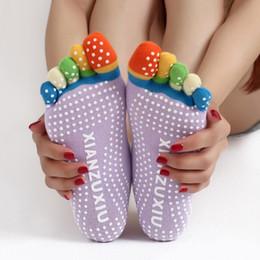 Wholesale Finger Toes - Hot Sales Women Yoga Toes Socks Ladies Non Slip Gym Dance Sport Fitness Five Fingers Girls Massage Pilates Exercise Socks MD0017 kevinstyle