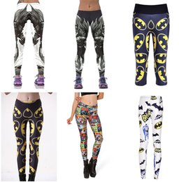 Wholesale Woman Capris - BATMAN Yoga Pant Women's Sport Fitness BAT MAN Trousers Bat Hero 3D Print Leggings Elasticity Capris Slim Breathable Big Size LN7Slgs