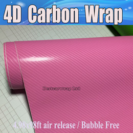 Wholesale fiber wall covering - Pink 4D Carbon Fiber Vinyl Like realistic Carbon For Car& wall laptop Wrap skin With Air Bubble Free covering skin Size 1.52x30m 4.98x98ft