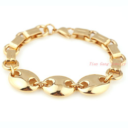"Wholesale Gold Plated Bean - 8.26"" Hot Fashion 316L Stainless Steel 18K Gold Plated Coffee Beans Chain Mens Womens Bracelet Bangle Popular Jewelry Good Gift"