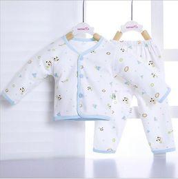 Wholesale Newborn Long Johns - 2Pcs Set Soft Nice Newborn Long Johns Cotton Suit Infant Underwear Set Cotton Baby Clothing Girls Boys Cartoon Pattern Sleepwear