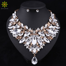 Wholesale Indian Style Gold Necklaces - Retro Style Nigerian Wedding African Beads Jewelry Sets White Crystal Necklace Earrings Set Party Wedding Dubai Jewelry Set