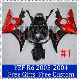 Wholesale Custom R6 Plastics - Motorbike fairings for Yamaha YZF R6 2003 2004 ABS plastic Cowling Black red 2003-2004 YZF-R6 Custom Painting Motorcycle Fairing with gifts