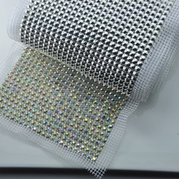 Wholesale Crystal Ss18 - (J0283-20) Free Shipping by express, 10yards lot, 24-Row ,SS18 crystals ,rhinestone mesh trim,all clear ab crystals
