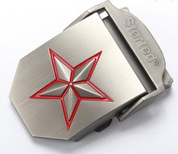 Wholesale Red Webbing - Wholesale-New HOT Fashion Red Star Military Army Style Mens Womens Stainless Steel Metal Buckle for Leather Canvas Fabric PU Webbing Belt