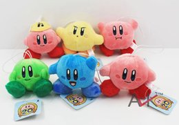 Wholesale Mario Stuffed - Hot sale Super mario plush toy Lovely Kirby Stuffed Plush Pendants keychains Soft Toys 6pcs 7cm Free shipping