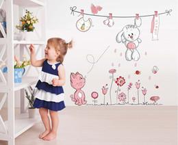 Wholesale Baby Girl Nursery Wall Decals - Pink Cartoon Cat Rabbit Flower Wall Sticker For Baby Girls Kids Rooms Home Decor Teddy Bear Umbrella Classroom Wall Decals