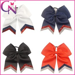 Wholesale Hot Sale quot Large Girls Cheer Bow Glitter Cheer Bows with Ponytail Holder