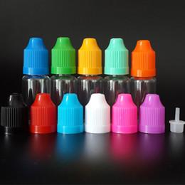 Botellas líquidas de 10 ml Vacío E cig Botellas de gotero transparentes PET con tapas a prueba de niños y punta larga y delgada para jugo E líquido E desde fabricantes