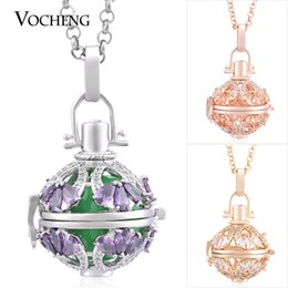 Wholesale Jewelry Ball Stone - Ball Harmony Water Drop CZ Stone Stainless Steel Chain Maternity Necklace 3 Colors Plating Angel Lockets Jewelry VOCHENG VA-219