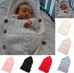 Wholesale Wholesale Wool Bags - Newborn Baby Infant Knit Sleeping Bag Wrap Warm Wool Blends Crochet Knitted Hoodie Swaddling Wrap KKA2657