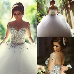 Wholesale Crystal Arabic Wedding Dress - 2017 New Luxury Crystals Long Sleeves Ball Gowns Wedding Dresses Rhinestones Lace-up Back Arabic Wedding Gown Sheer Crew Neck Vestidos