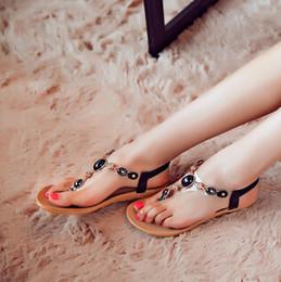 Wholesale Ladies Beaded Shoes Black - 07234 Wholesale Woman Summer Sandals Comfortable Massage sandals Flat heel Beaded Shoes Diamond Gem Ladies Sandals 35-40eu size 5-10 US size
