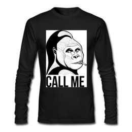 Wholesale Crow Calls - Gorilla Call me Fashion men's long sleeve tee shirt 100% cotton crew neck cartoon printed sweatshirt slim T-shirt customized products