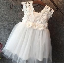 Wholesale Wholesale Red Wedding Dresses - Hug me Baby Girls Clothes Lace Tutu Dresses Children's Princess Dresses for Kids Clothing 2016 Summer flower girls wedding Party Dress K432