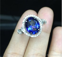 Wholesale Natural Blue Tanzanite - Tanzanite Blue Topaz Natural Gemstones prong Setting Rings for Women Girl size 8*10mm S925 sterling silver with 18k white gold rings RC